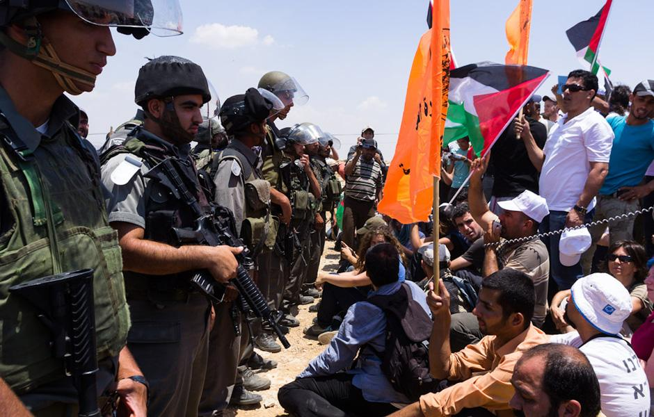 A demonstration in Susya over Israeli plans to evict and demolish the entire village. Photo Credit: Jesse Locke